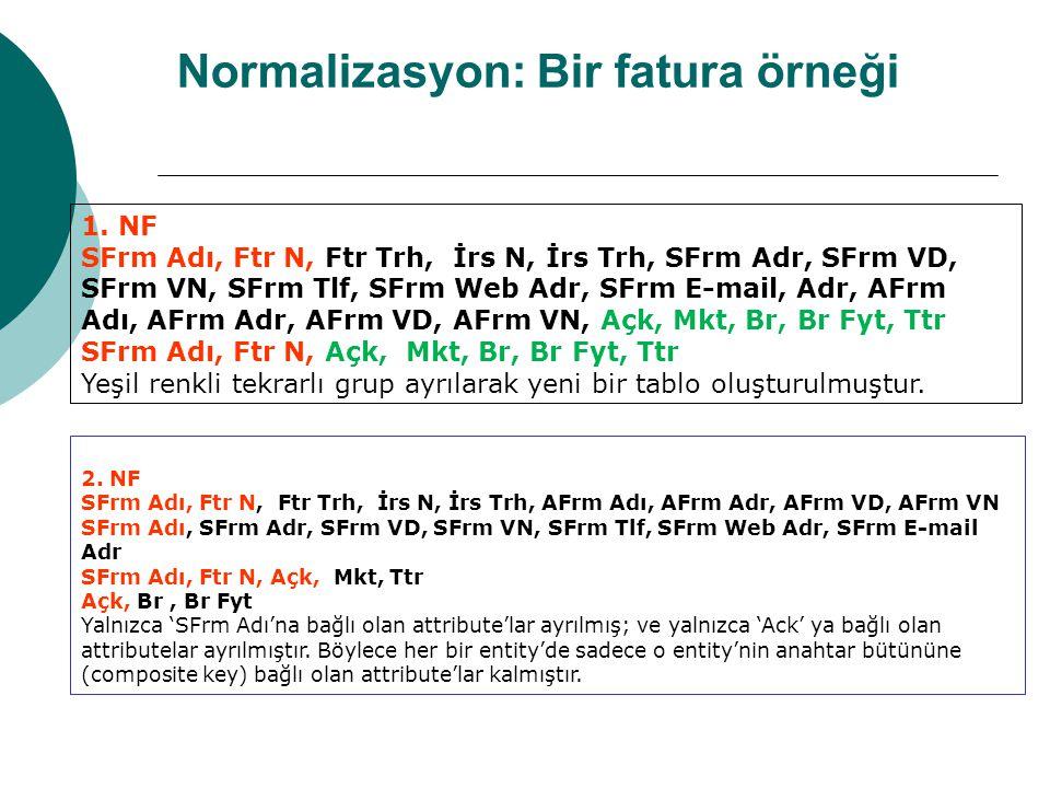 Normalizasyon: Bir fatura örneği 1.