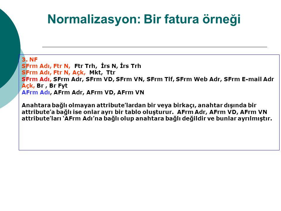 Normalizasyon: Bir fatura örneği 3.
