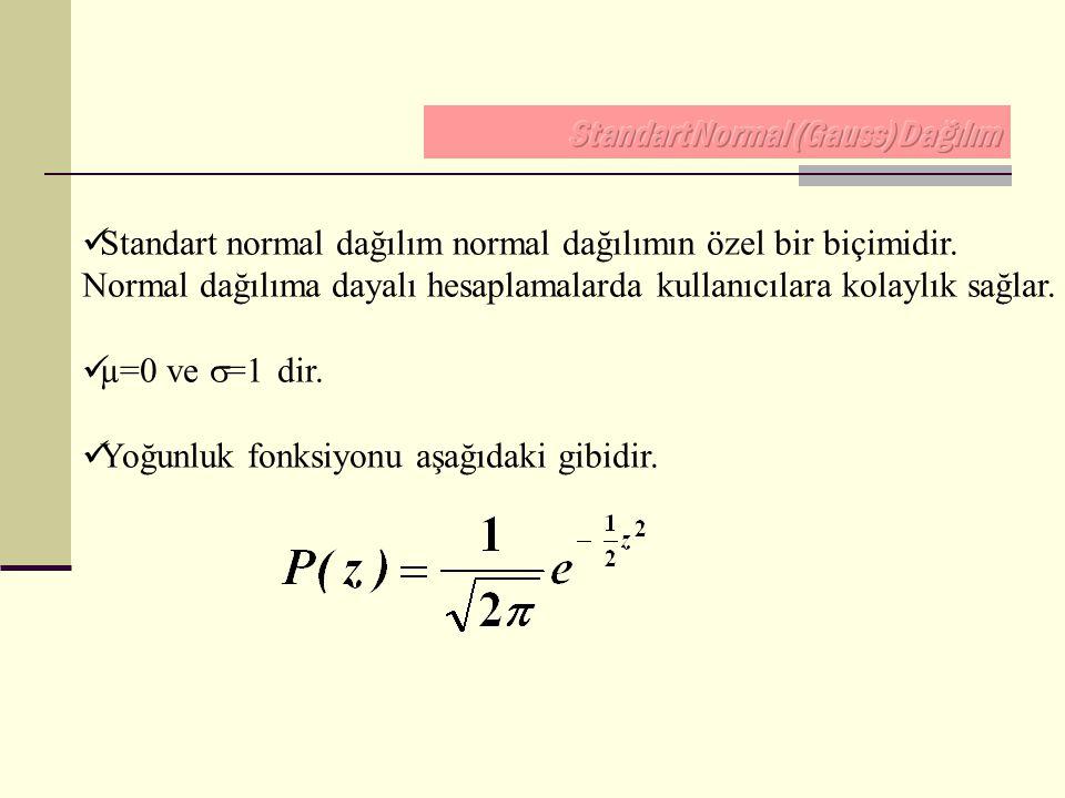 Standart normal dağılım normal dağılımın özel bir biçimidir. Normal dağılıma dayalı hesaplamalarda kullanıcılara kolaylık sağlar. µ=0 ve  =1 dir. Yoğ