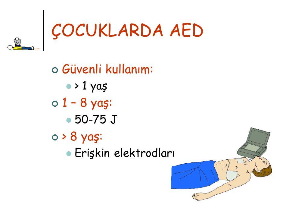 ÇOCUKLARDA AED Güvenli kullanım: > 1 yaş 1 – 8 yaş: 50-75 J > 8 yaş: Erişkin elektrodları