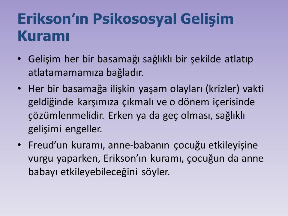 Erikson'ın Psikososyal Gelişim Kuramı Gelişim her bir basamağı sağlıklı bir şekilde atlatıp atlatamamamıza bağladır. Her bir basamağa ilişkin yaşam ol