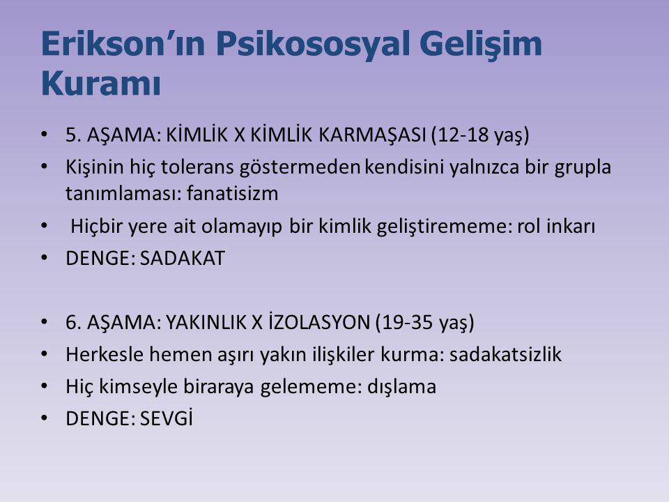 Erikson'ın Psikososyal Gelişim Kuramı 5. AŞAMA: KİMLİK X KİMLİK KARMAŞASI (12-18 yaş) Kişinin hiç tolerans göstermeden kendisini yalnızca bir grupla t