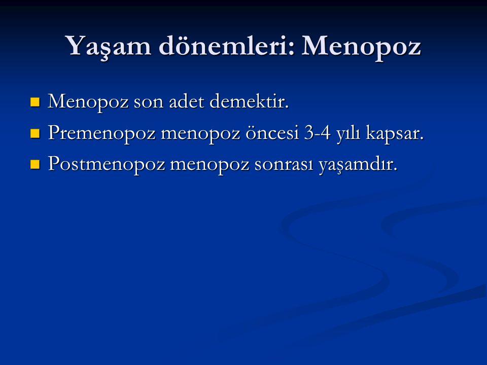 Yaşam dönemleri: Menopoz Menopoz son adet demektir. Menopoz son adet demektir. Premenopoz menopoz öncesi 3-4 yılı kapsar. Premenopoz menopoz öncesi 3-