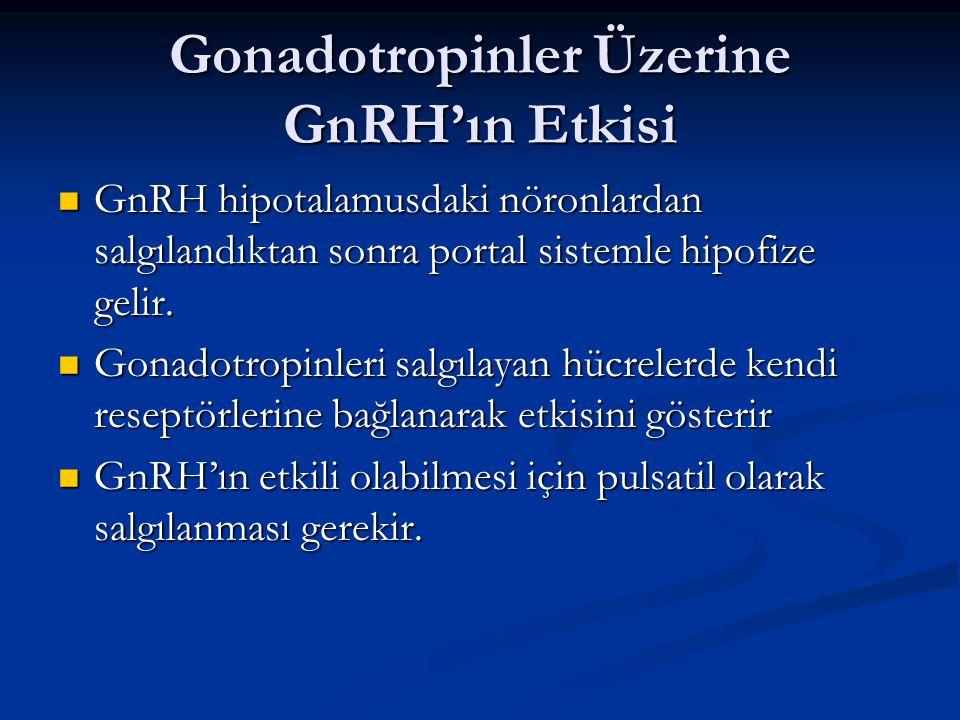 Gonadotropinler Üzerine GnRH'ın Etkisi GnRH hipotalamusdaki nöronlardan salgılandıktan sonra portal sistemle hipofize gelir. GnRH hipotalamusdaki nöro