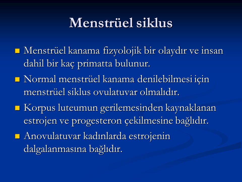 Menstrüel siklus Menstrüel kanama fizyolojik bir olaydır ve insan dahil bir kaç primatta bulunur. Menstrüel kanama fizyolojik bir olaydır ve insan dah