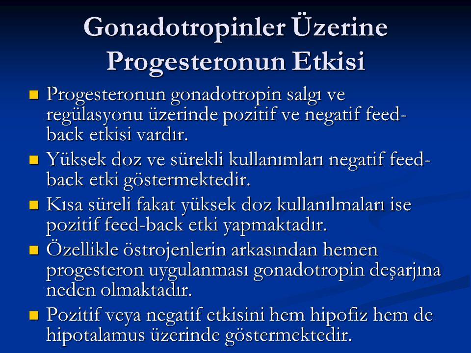Gonadotropinler Üzerine Progesteronun Etkisi Progesteronun gonadotropin salgı ve regülasyonu üzerinde pozitif ve negatif feed- back etkisi vardır. Pro