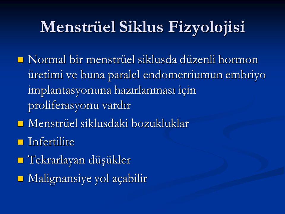 Menstrüel Siklus Fizyolojisi Normal bir menstrüel siklusda düzenli hormon üretimi ve buna paralel endometriumun embriyo implantasyonuna hazırlanması i