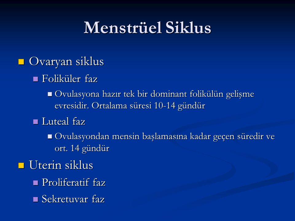 Menstrüel Siklus Ovaryan siklus Ovaryan siklus Foliküler faz Foliküler faz Ovulasyona hazır tek bir dominant folikülün gelişme evresidir. Ortalama sür
