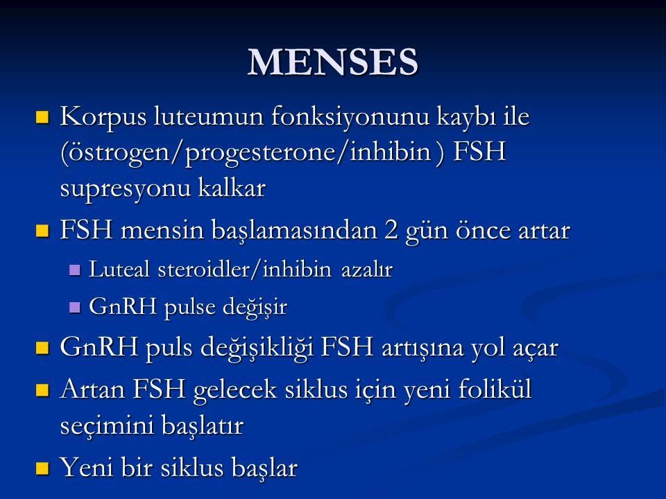 MENSES Korpus luteumun fonksiyonunu kaybı ile (östrogen/progesterone/inhibin ) FSH supresyonu kalkar Korpus luteumun fonksiyonunu kaybı ile (östrogen/