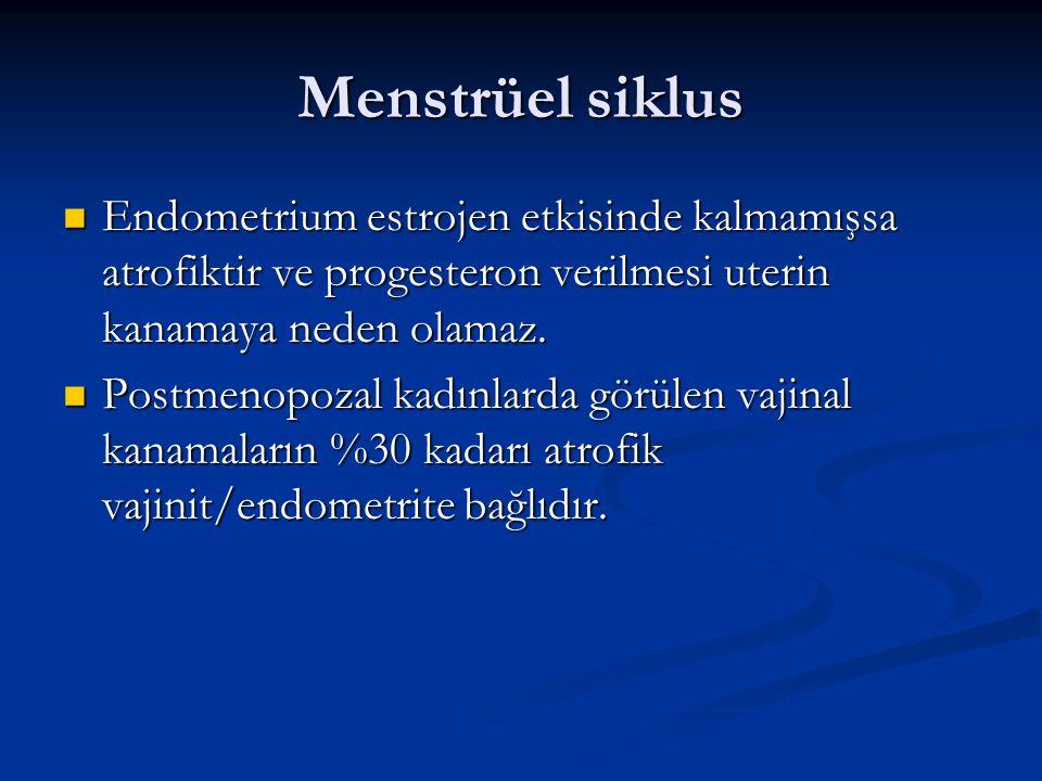Menstrüel siklus Endometrium estrojen etkisinde kalmamışsa atrofiktir ve progesteron verilmesi uterin kanamaya neden olamaz. Endometrium estrojen etki