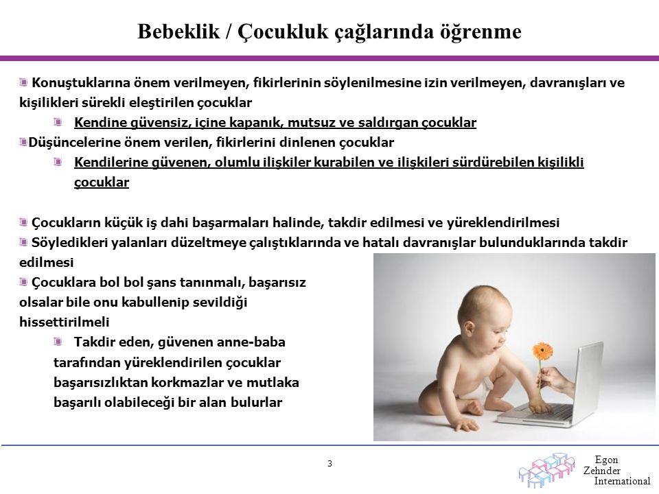 Egon Zehnder International 3 Bebeklik / Çocukluk çağlarında öğrenme Konuştuklarına önem verilmeyen, fikirlerinin söylenilmesine izin verilmeyen, davra