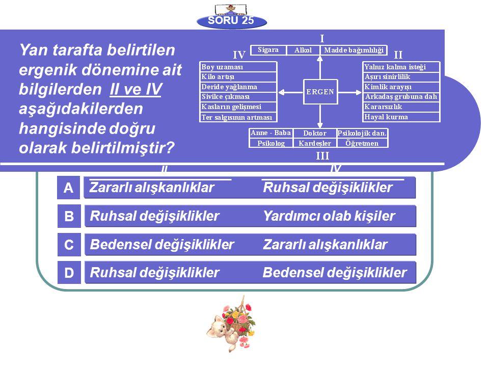 SORU 25 Yan tarafta belirtilen ergenik dönemine ait bilgilerden II ve IV aşağıdakilerden hangisinde doğru olarak belirtilmiştir? Zararlı alışkanlıklar