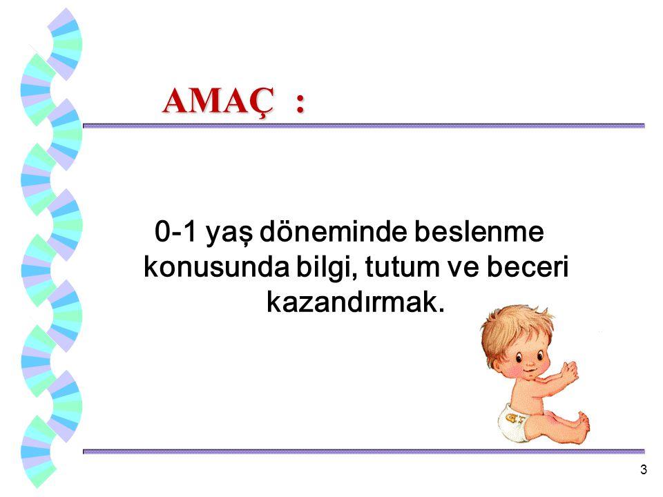 AMAÇ : AMAÇ : 0-1 yaş döneminde beslenme konusunda bilgi, tutum ve beceri kazandırmak. 3