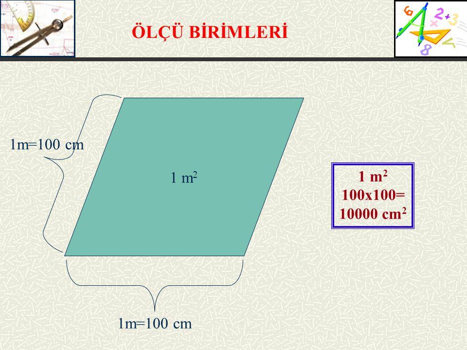 ÖLÇÜ BİRİMLERİ 1 m 2 1m=100 cm 1 m 2 100x100= 10000 cm 2
