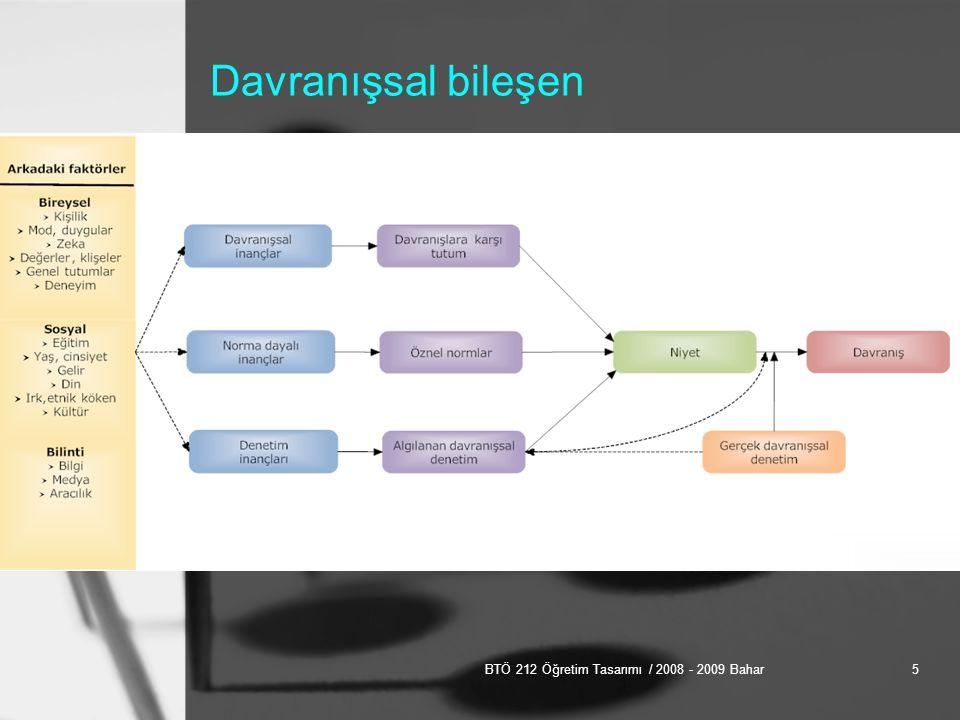 BTÖ 212 Öğretim Tasarımı / 2008 - 2009 Bahar6 Duyuşsal bileşen Duyuşsal alan taksonomisi –Alma (uyarıcıya dikkat etme) –Tepki gösterme (etkin biçimde ilgilenme) –Değer verme (önemli bulma) –Düzenleme (tutarlı bir bütün içinde kaynaştırma) –Nitelik kazandırma (değer, inanç ya da tutumun kişinin yerleşik bir özelliğini oluşturma) (Krathwohl, Bloom, Masia,1964)