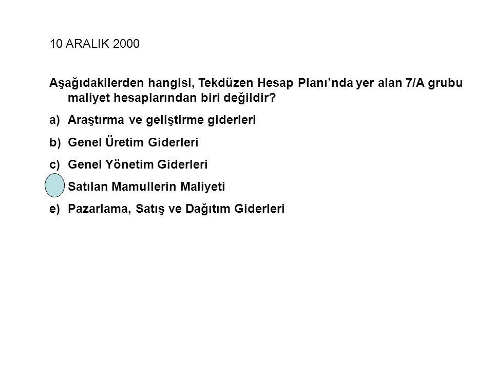 11 Kasım 2006 Yan ürünlerin değerlemesinde aşağıdaki yöntemlerden hangisi uygulanmaz.
