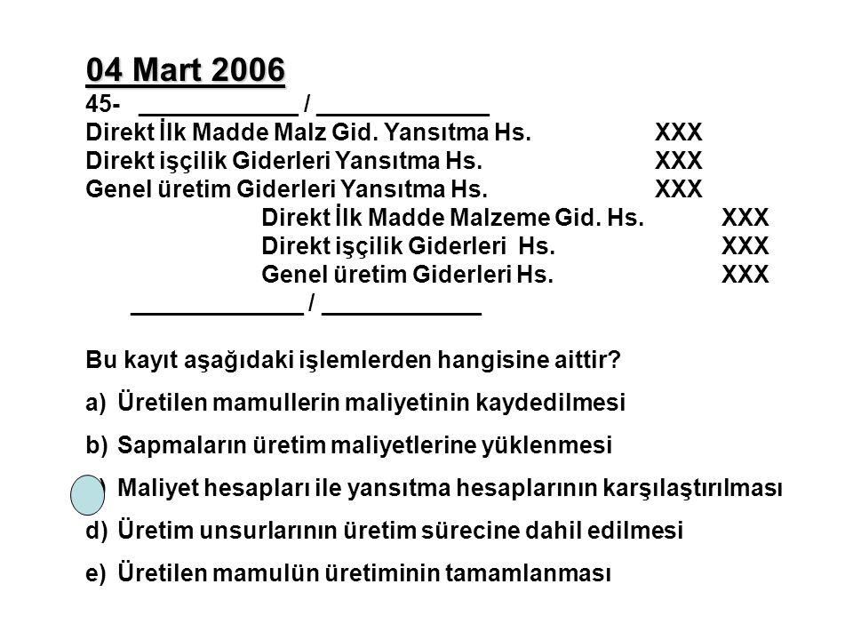 04 Mart 2006 45- ____________ / _____________ Direkt İlk Madde Malz Gid. Yansıtma Hs.XXX Direkt işçilik Giderleri Yansıtma Hs.XXX Genel üretim Giderle
