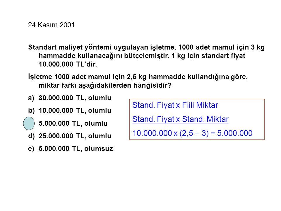 24 Kasım 2001 Standart maliyet yöntemi uygulayan işletme, 1000 adet mamul için 3 kg hammadde kullanacağını bütçelemiştir. 1 kg için standart fiyat 10.