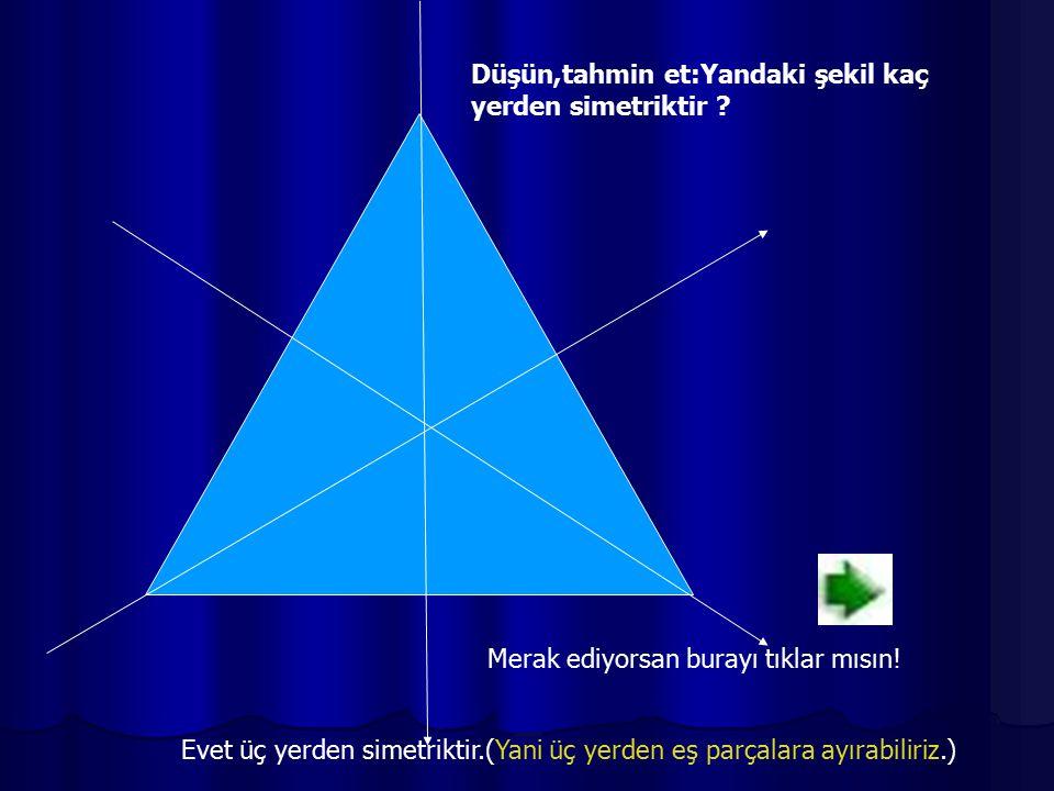 Düşün,tahmin et:Yandaki şekil kaç yerden simetriktir ? Merak ediyorsan burayı tıklar mısın! Evet üç yerden simetriktir.(Yani üç yerden eş parçalara ay