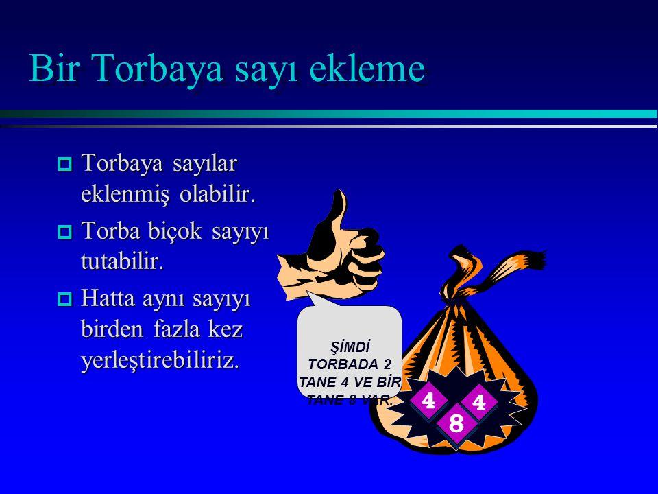 Bir Torbaya sayı ekleme p Torbaya sayılar eklenmiş olabilir.