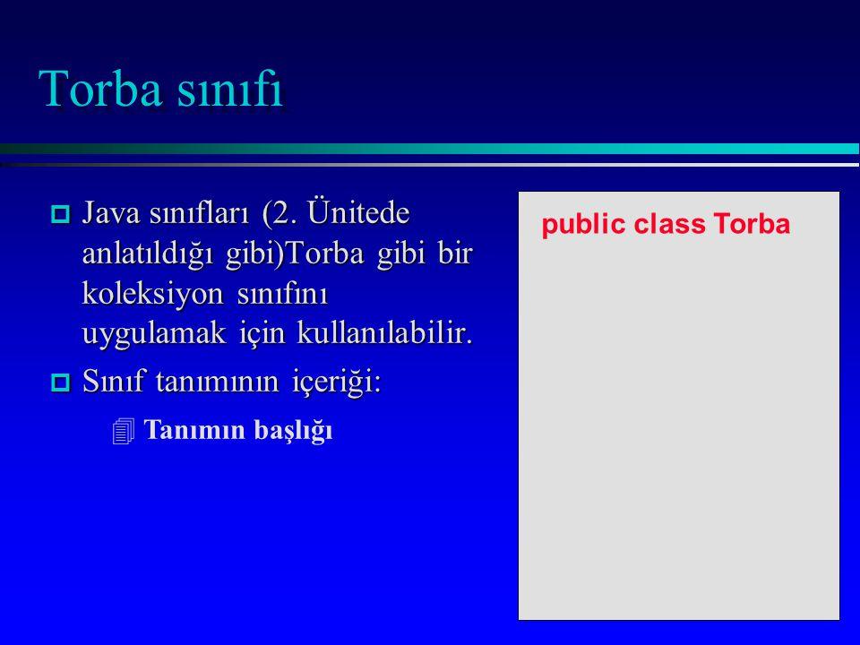 Torba sınıfı p Java sınıfları (2.