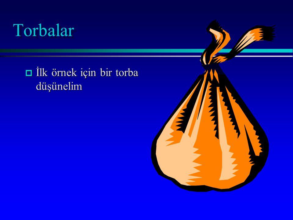 Torbalar p İlk örnek için bir torba düşünelim