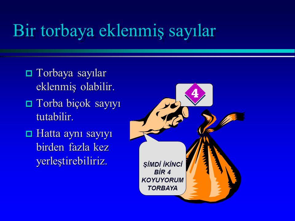Bir torbaya eklenmiş sayılar p Torbaya sayılar eklenmiş olabilir.