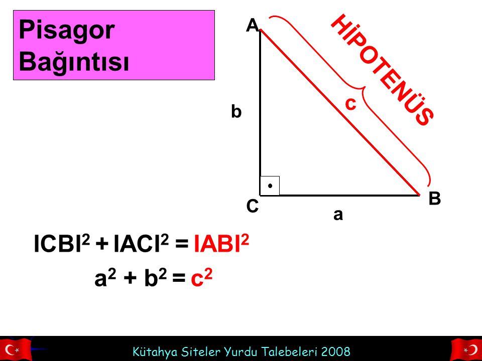 Kütahya Siteler Yurdu Talebeleri 2008 A B C HİPOTENÜS a b c Pisagor Bağıntısı ICBI 2 + IACI 2 = IABI 2 a 2 + b 2 = c 2