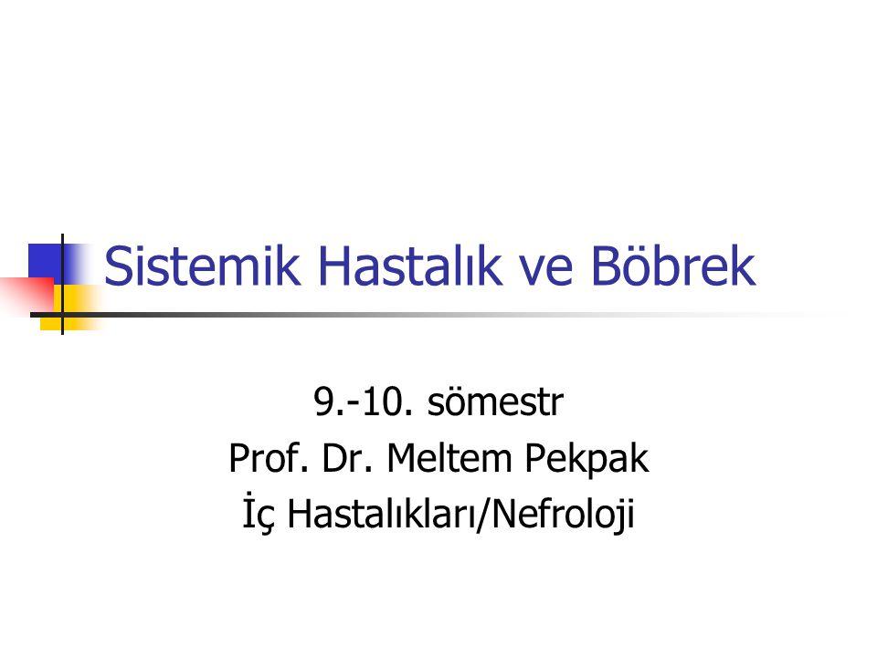 Sistemik Hastalık ve Böbrek 9.-10. sömestr Prof. Dr. Meltem Pekpak İç Hastalıkları/Nefroloji