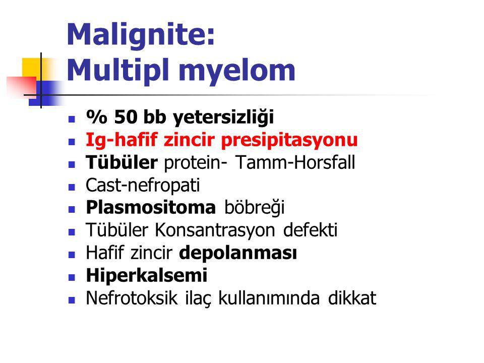 Malignite: Multipl myelom % 50 bb yetersizliği Ig-hafif zincir presipitasyonu Tübüler protein- Tamm-Horsfall Cast-nefropati Plasmositoma böbreği Tübül
