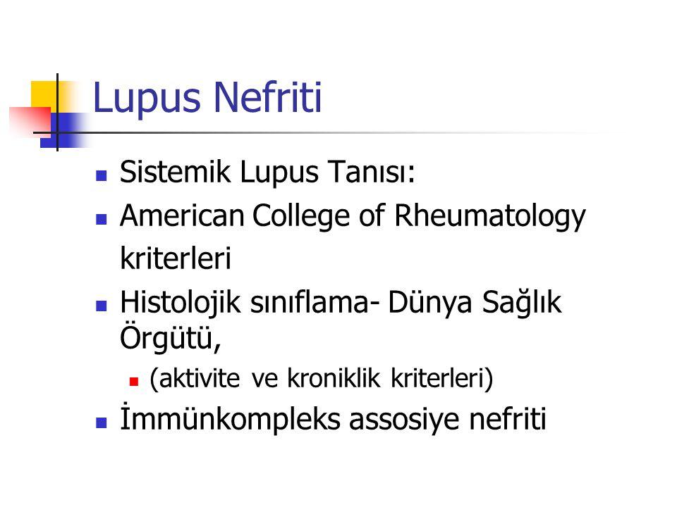 Lupus Nefriti Sistemik Lupus Tanısı: American College of Rheumatology kriterleri Histolojik sınıflama- Dünya Sağlık Örgütü, (aktivite ve kroniklik kri