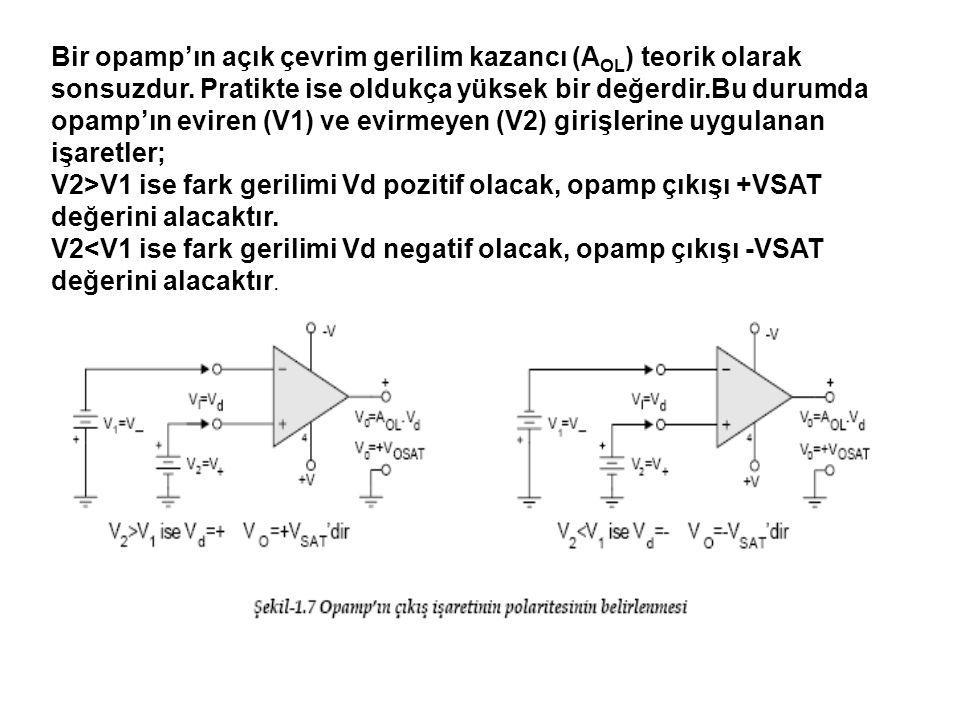 Bir opamp'ın açık çevrim gerilim kazancı (A OL ) teorik olarak sonsuzdur.