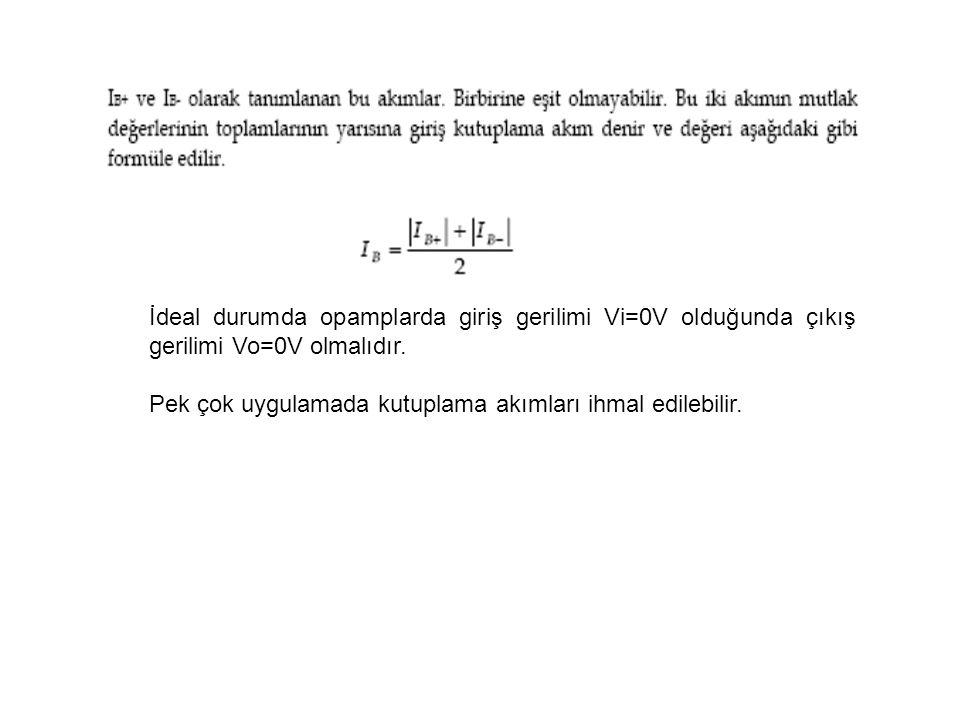 İdeal durumda opamplarda giriş gerilimi Vi=0V olduğunda çıkış gerilimi Vo=0V olmalıdır.