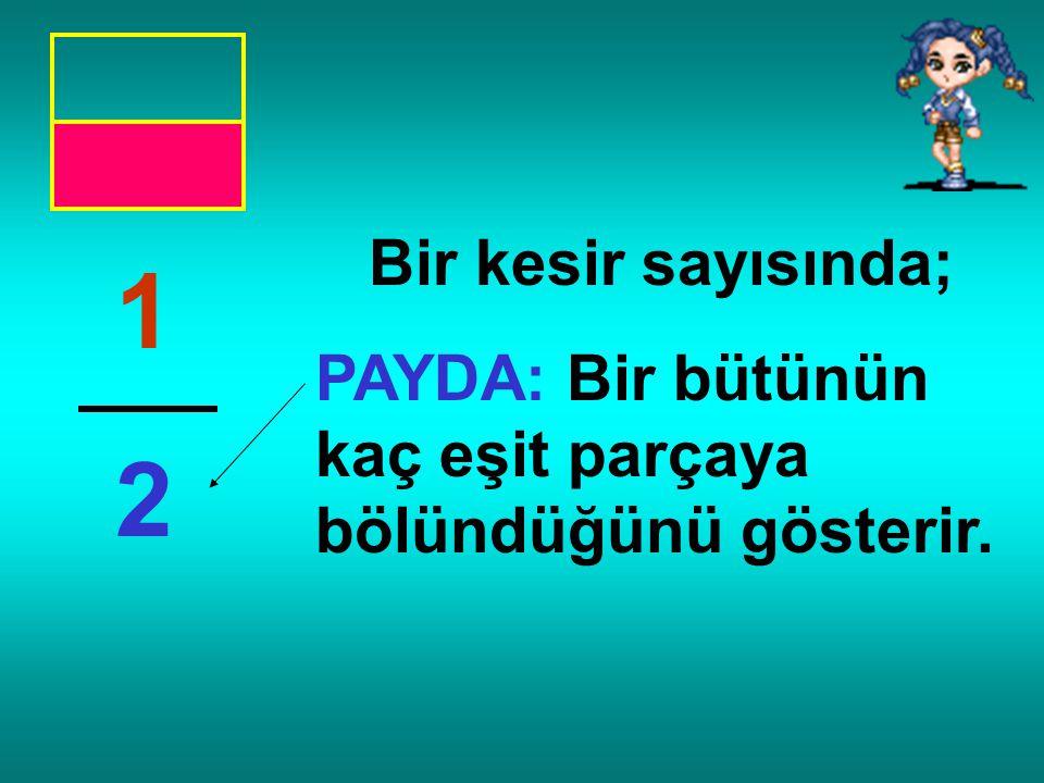 """1 2 Pay Payda Kesir Çizgisi Bu kesir sayısı, """"bir bölü iki"""" ya da """"ikide bir"""" şeklinde okunur."""