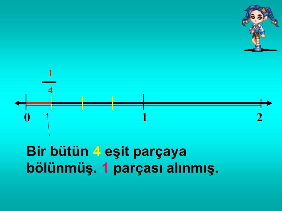 01 Arkadaşlar; 0 ile 1 arasındaki büyüklük, 1 bütündür. Bu bütünü eşit parçalara böldüğümüzde her parça bir kesir sayısını gösterir. Yani, kesir sayıl