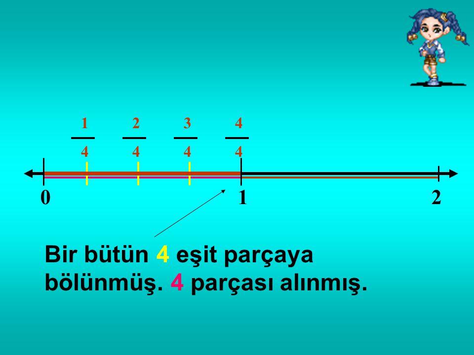 012 Bir bütün 4 eşit parçaya bölünmüş. 3 parçası alınmış. 1414 2424 3434
