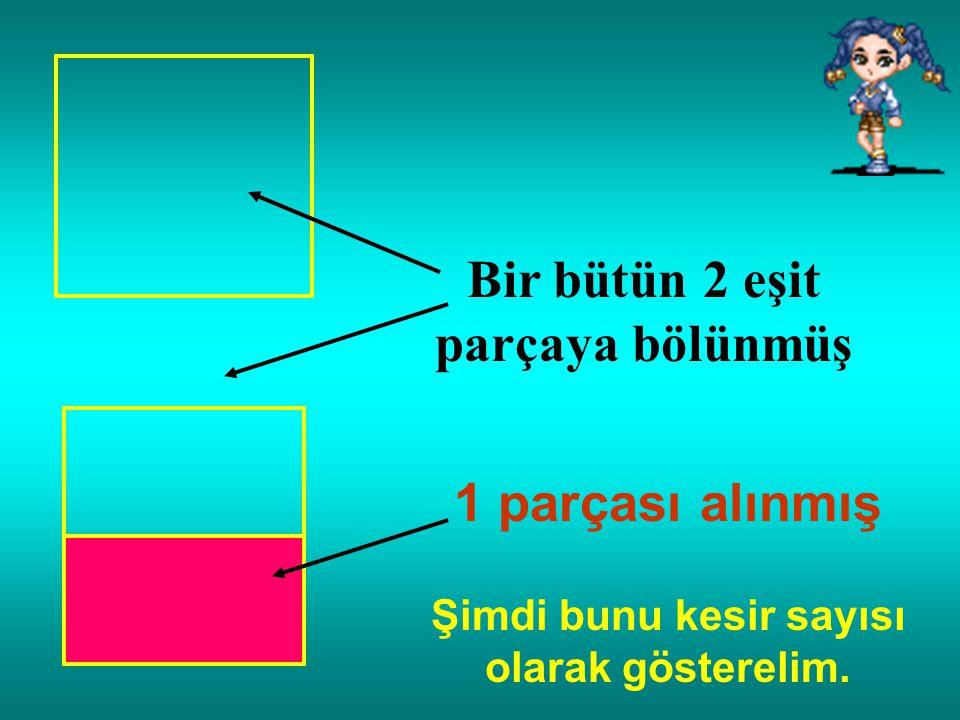 Bir bütün 4 eşit parçaya bölünmüş 1 parçası alınmış. (Dörtte bir) 1 4