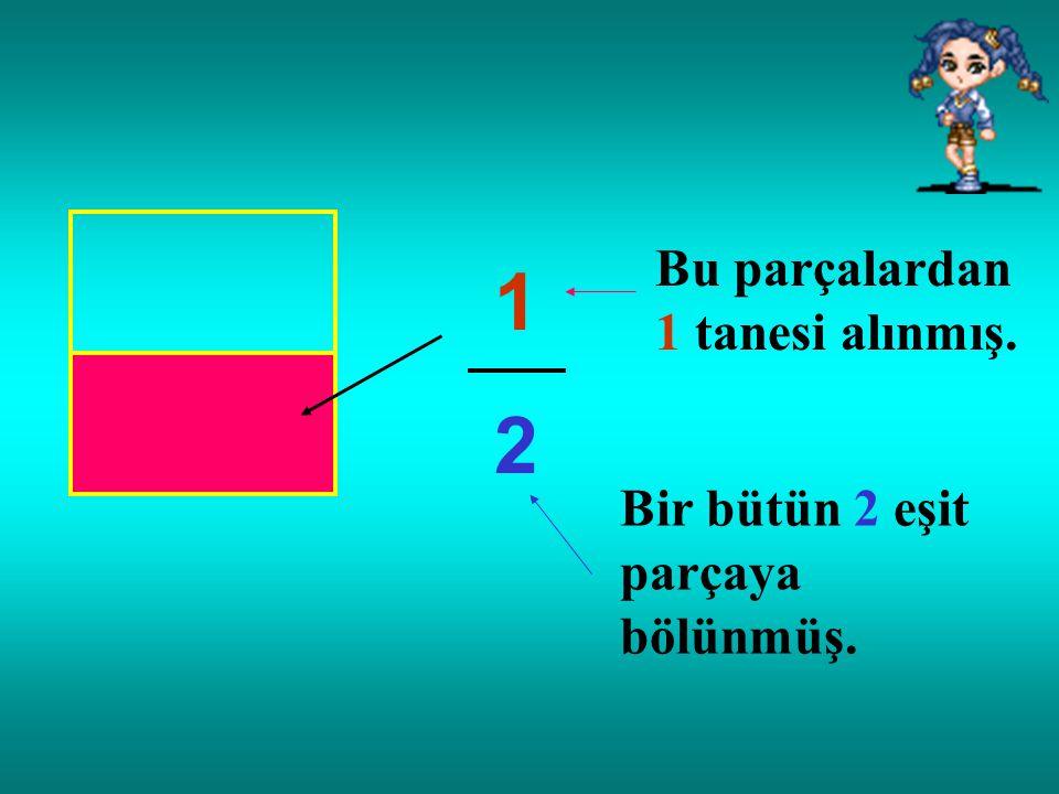 1 2 Bu parçalardan 1 tanesi alınmış. Bir bütün 2 eşit parçaya bölünmüş.
