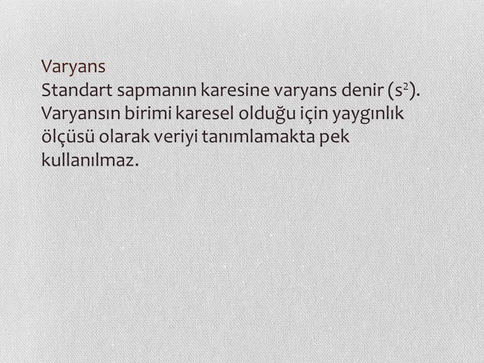 Varyans Standart sapmanın karesine varyans denir (s 2 ).