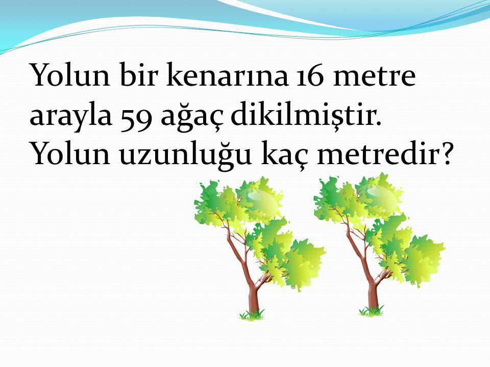 Yolun bir kenarına 16 metre arayla 59 ağaç dikilmiştir. Yolun uzunluğu kaç metredir?
