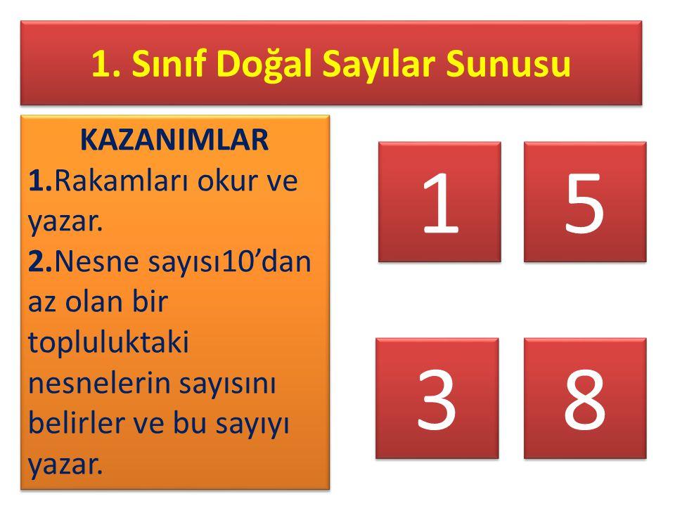 1. Sınıf Doğal Sayılar Sunusu KAZANIMLAR 1.Rakamları okur ve yazar. 2.Nesne sayısı10'dan az olan bir topluluktaki nesnelerin sayısını belirler ve bu s