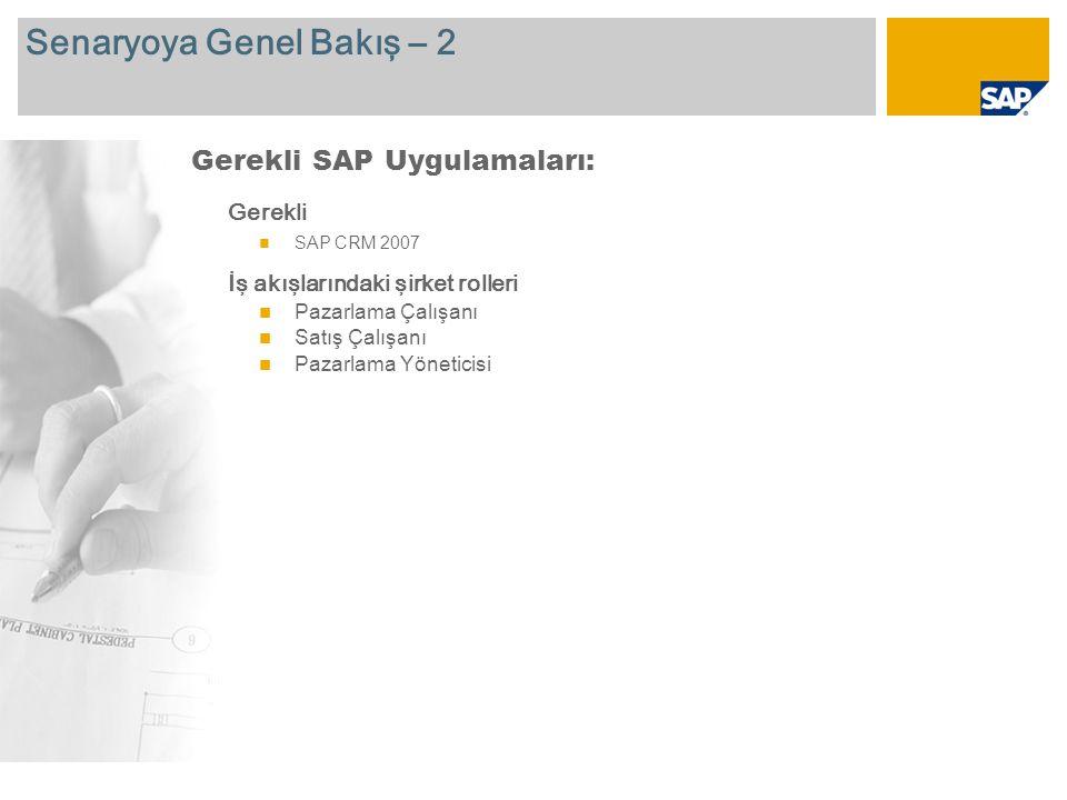 Senaryoya Genel Bakış – 2 Gerekli SAP CRM 2007 İş akışlarındaki şirket rolleri Pazarlama Çalışanı Satış Çalışanı Pazarlama Yöneticisi Gerekli SAP Uygu