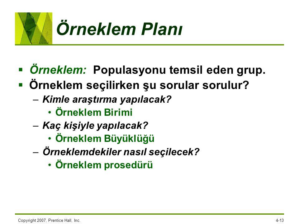 Copyright 2007, Prentice Hall, Inc.4-13 Örneklem Planı  Örneklem: Populasyonu temsil eden grup.  Örneklem seçilirken şu sorular sorulur? –Kimle araş