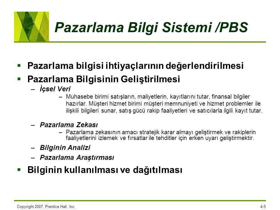 Pazarlama Bilgi Sistemi /PBS  Pazarlama bilgisi ihtiyaçlarının değerlendirilmesi  Pazarlama Bilgisinin Geliştirilmesi –İçsel Veri –Muhasebe birimi s