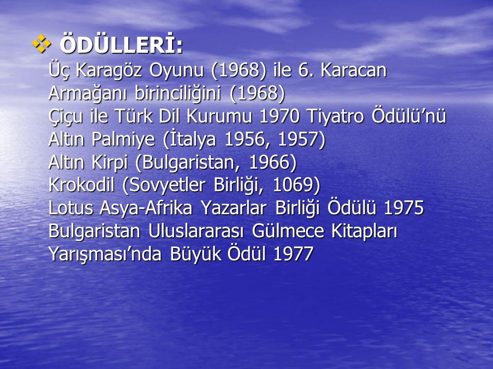 ÖDÜLLERİ: Üç Karagöz Oyunu (1968) ile 6. Karacan Armağanı birinciliğini (1968) Çiçu ile Türk Dil Kurumu 1970 Tiyatro Ödülü'nü Altın Palmiye (İtalya