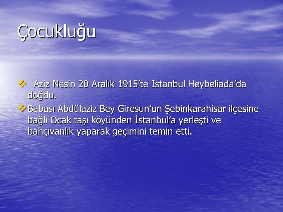 Çocukluğu  Aziz Nesin 20 Aralık 1915'te İstanbul Heybeliada'da doğdu.  Babası Abdülaziz Bey Giresun'un Şebinkarahisar ilçesine bağlı Ocak taşı köyün
