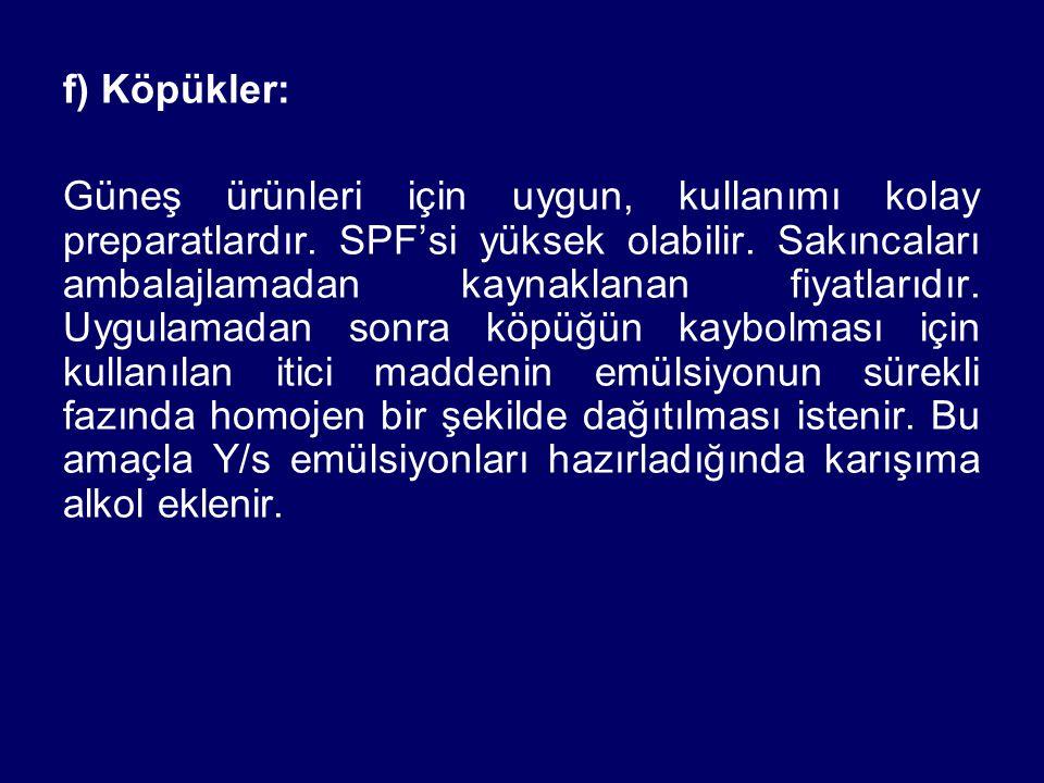 f) Köpükler: Güneş ürünleri için uygun, kullanımı kolay preparatlardır. SPF'si yüksek olabilir. Sakıncaları ambalajlamadan kaynaklanan fiyatlarıdır. U