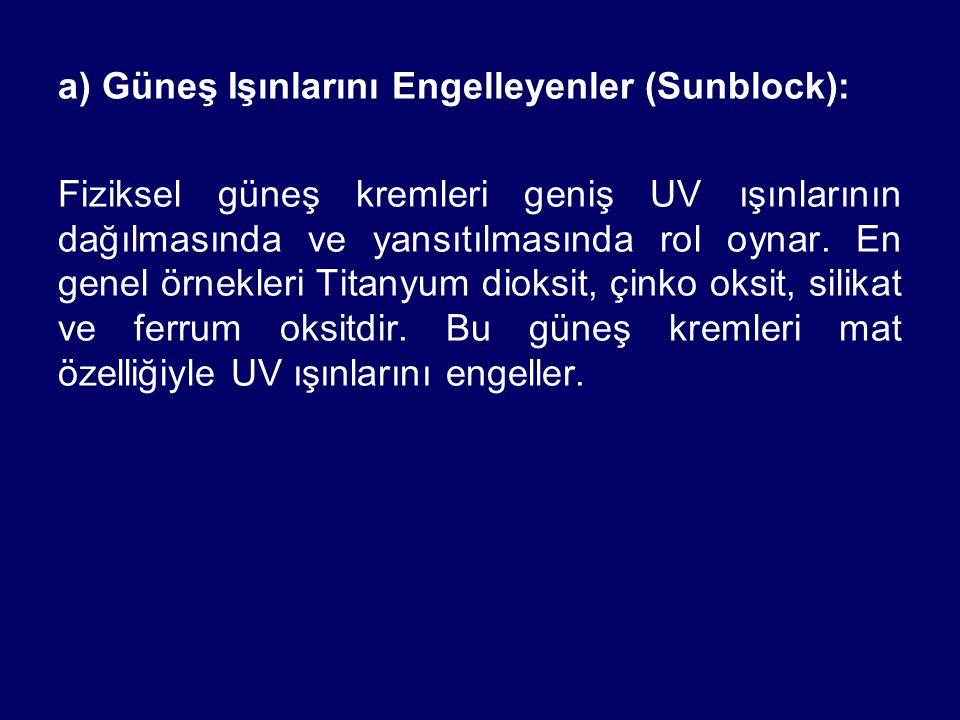 a) Güneş Işınlarını Engelleyenler (Sunblock): Fiziksel güneş kremleri geniş UV ışınlarının dağılmasında ve yansıtılmasında rol oynar. En genel örnekle
