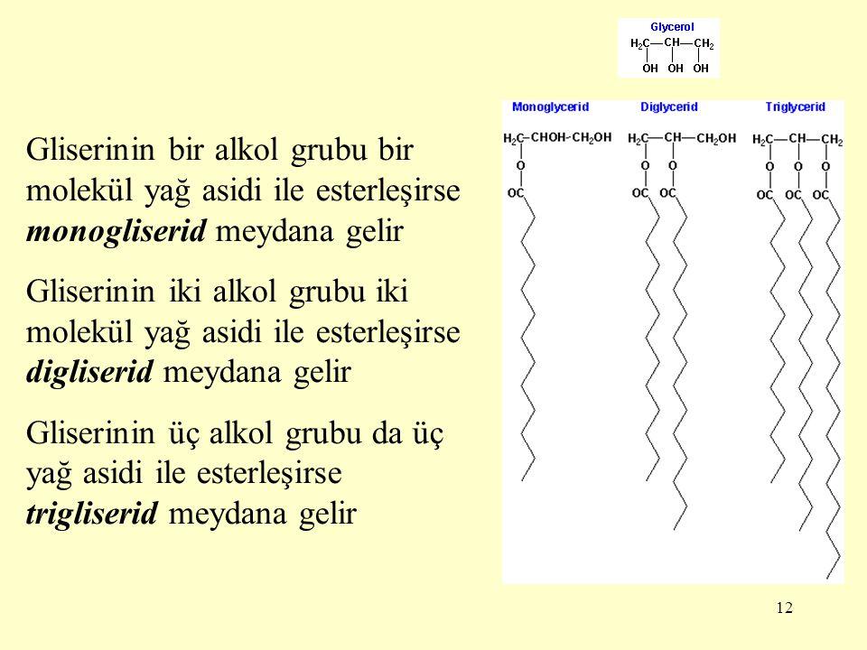 12 Gliserinin bir alkol grubu bir molekül yağ asidi ile esterleşirse monogliserid meydana gelir Gliserinin iki alkol grubu iki molekül yağ asidi ile e
