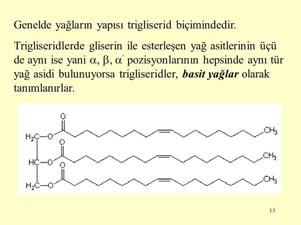 13 Genelde yağların yapısı trigliserid biçimindedir. Trigliseridlerde gliserin ile esterleşen yağ asitlerinin üçü de aynı ise yani , ,  pozisyonlar